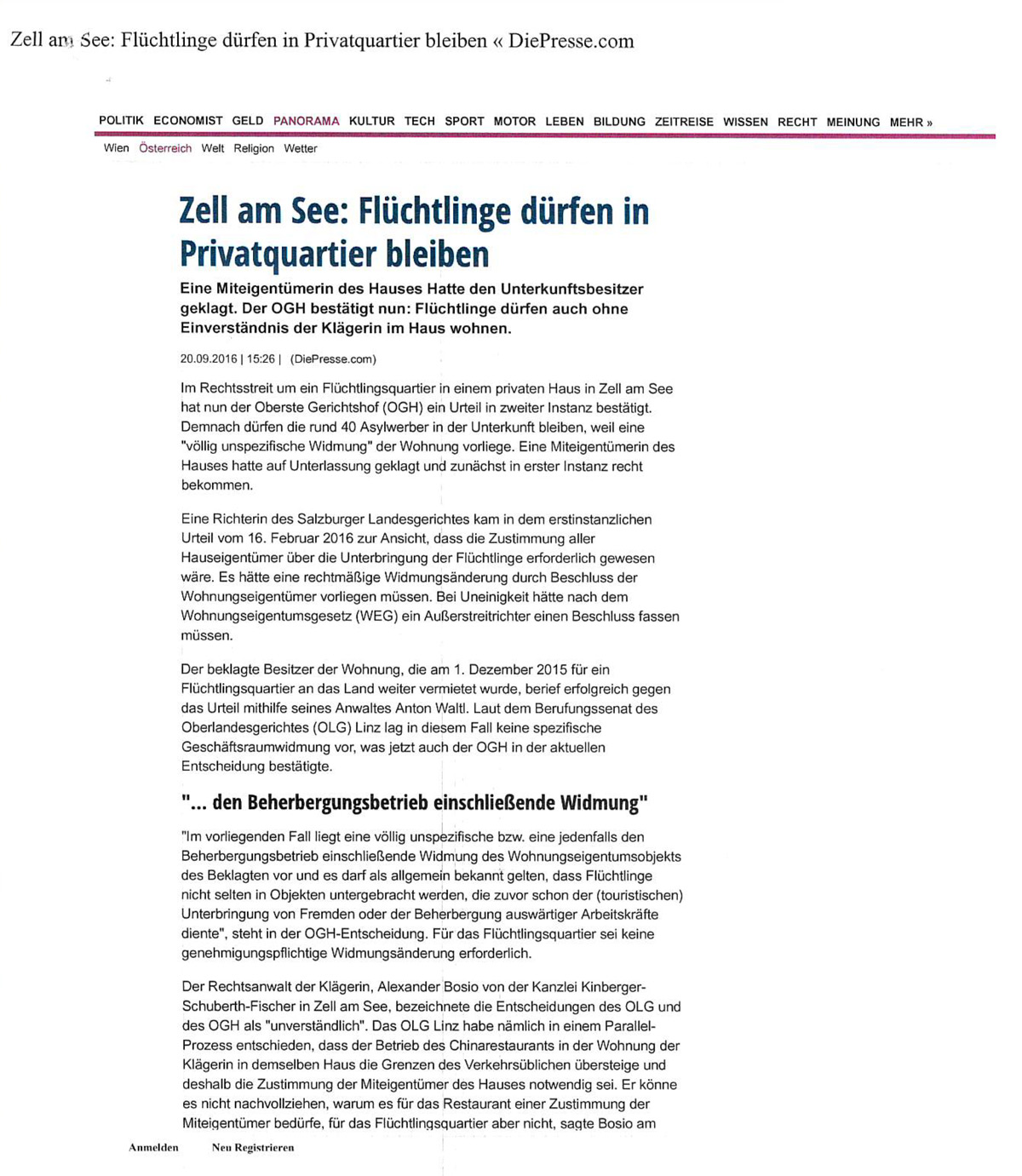 """""""Die Presse"""" 20.09.2016 """"Zell am See: Flüchtlinge dürfen in Privatquartier bleiben"""""""