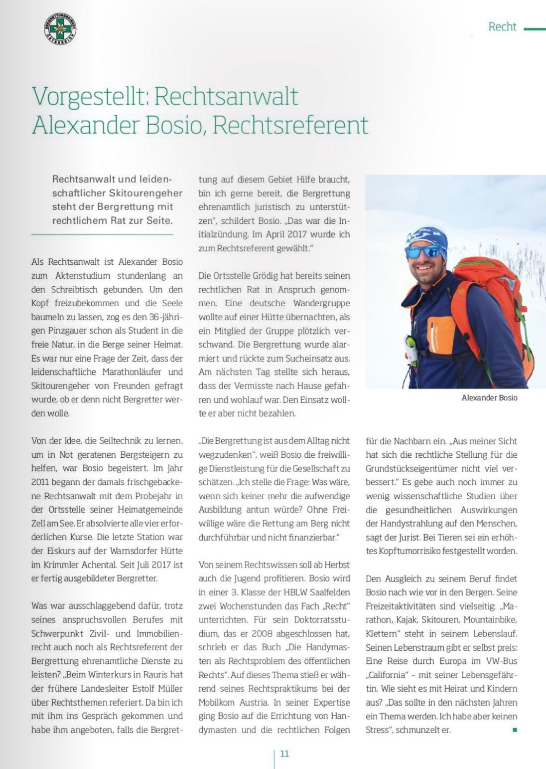 "Bergrettungs- Fördererheft 2018 ""Vorgestellt Rechtsanwalt Alexander Bosio, Rechtsreferent"""
