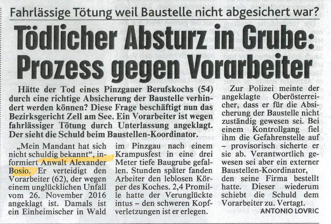 """Kronen Zeitung 28.04.2017 """"Tödlicher Absturz in Grube: Prozess gegen Vorarbeiter"""""""