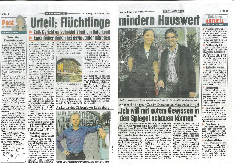 """Kronen Zeitung 25.02.2016 """"Urteil: Flüchtlinge mindern Hauswert"""""""