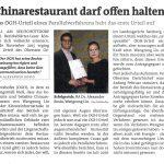 """Bezirksblatt Pinzgau: 14.02.2017 """"Chinarestaurant darf offen halten"""""""