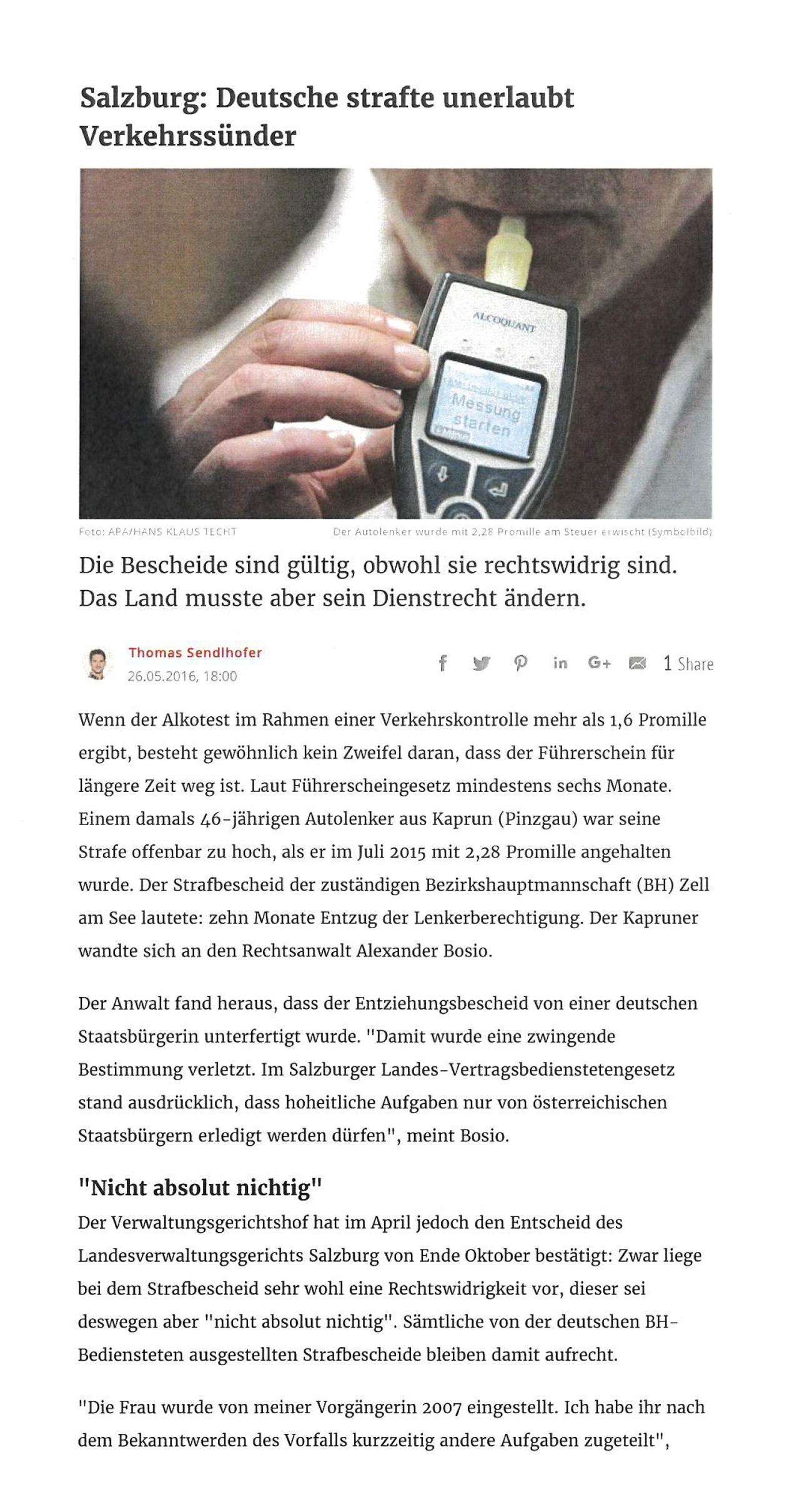 """Kurier"""" 26.07.2016 """"Deutsche strafte unerlaubt Verkehrssünder"""